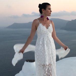 ASTR The Label Lace A-Line White Midi Dress Small